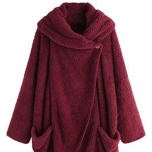 Red Wine Asymmetric Draped Hoodie